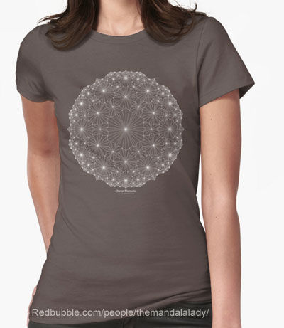 Redbubble: Cluster Blossom Mandala on dark gray t-shirt