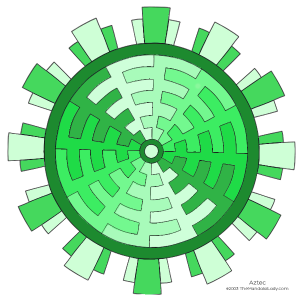 Aztec Mandala - varying values of green